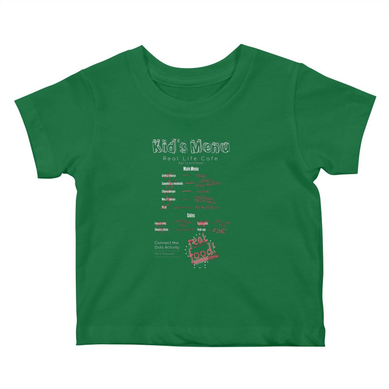 Kid's menu white text Kids Baby T-Shirt by Fat Fueled Family's Artist Shop