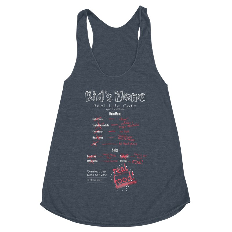 Kid's menu white text Women's Racerback Triblend Tank by Fat Fueled Family's Artist Shop