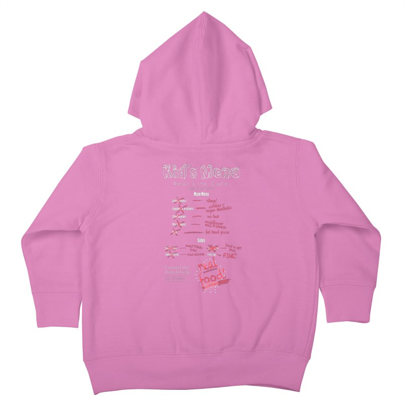 Kid's menu white text Kids Toddler Zip-Up Hoody by Fat Fueled Family's Artist Shop