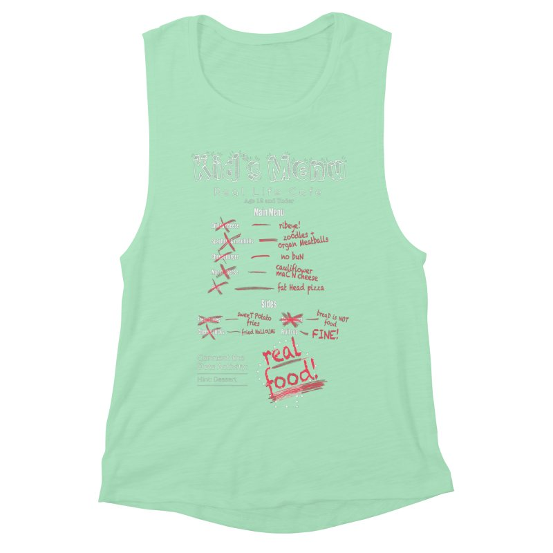 Kid's menu white text Women's Muscle Tank by Fat Fueled Family's Artist Shop
