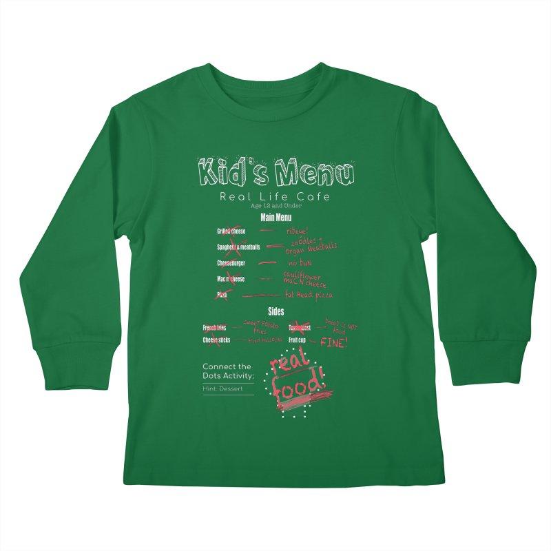 Kid's menu white text Kids Longsleeve T-Shirt by Fat Fueled Family's Artist Shop