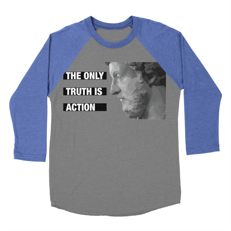 The only truth is action black Men's Baseball Triblend Longsleeve T-Shirt by Fat Fueled Family's Artist Shop