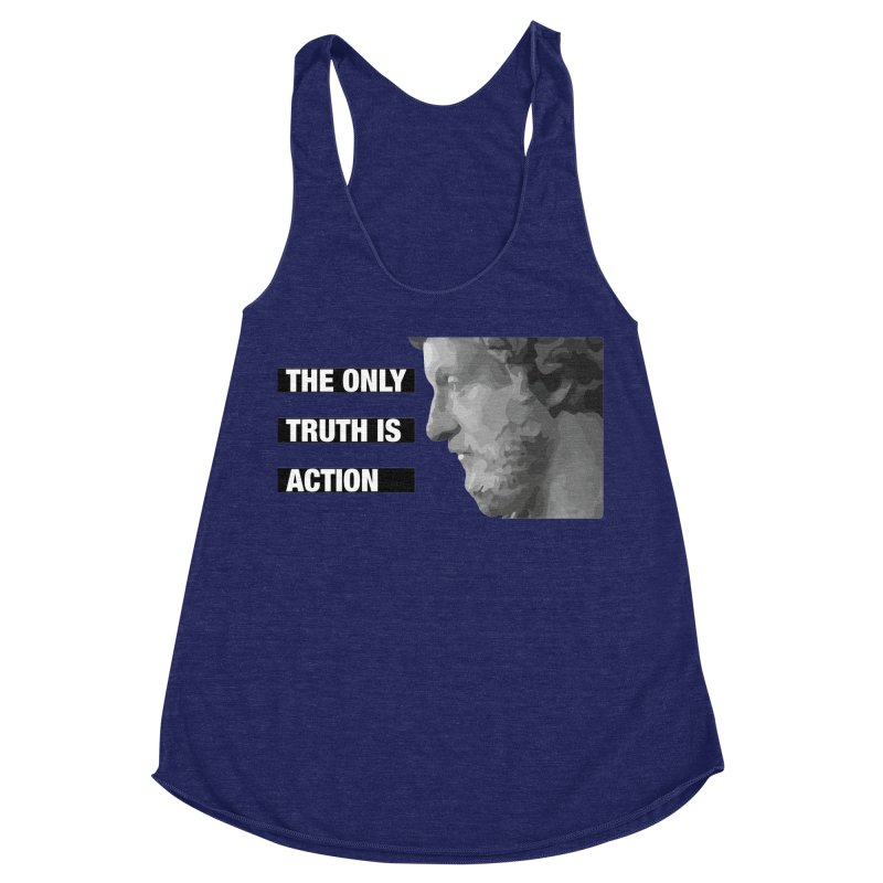 The only truth is action black Women's Racerback Triblend Tank by Fat Fueled Family's Artist Shop