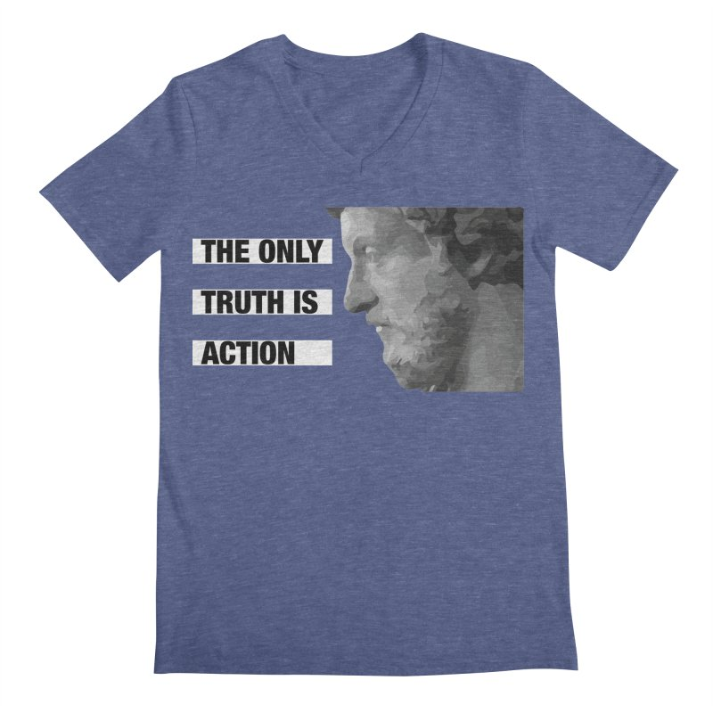 The Only Truth is Action black Men's Regular V-Neck by Fat Fueled Family's Artist Shop