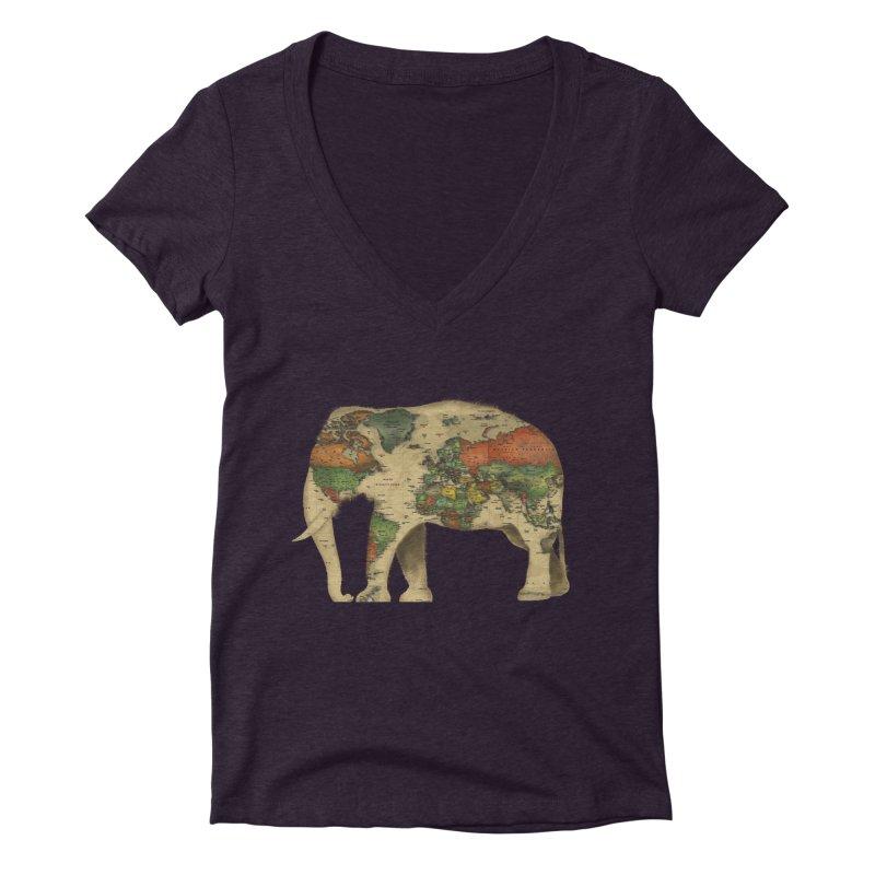 save the elephants Women's Deep V-Neck V-Neck by Fathi