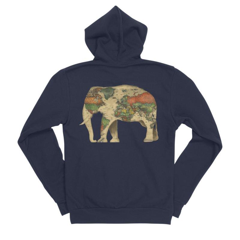 save the elephants Men's Sponge Fleece Zip-Up Hoody by Fathi