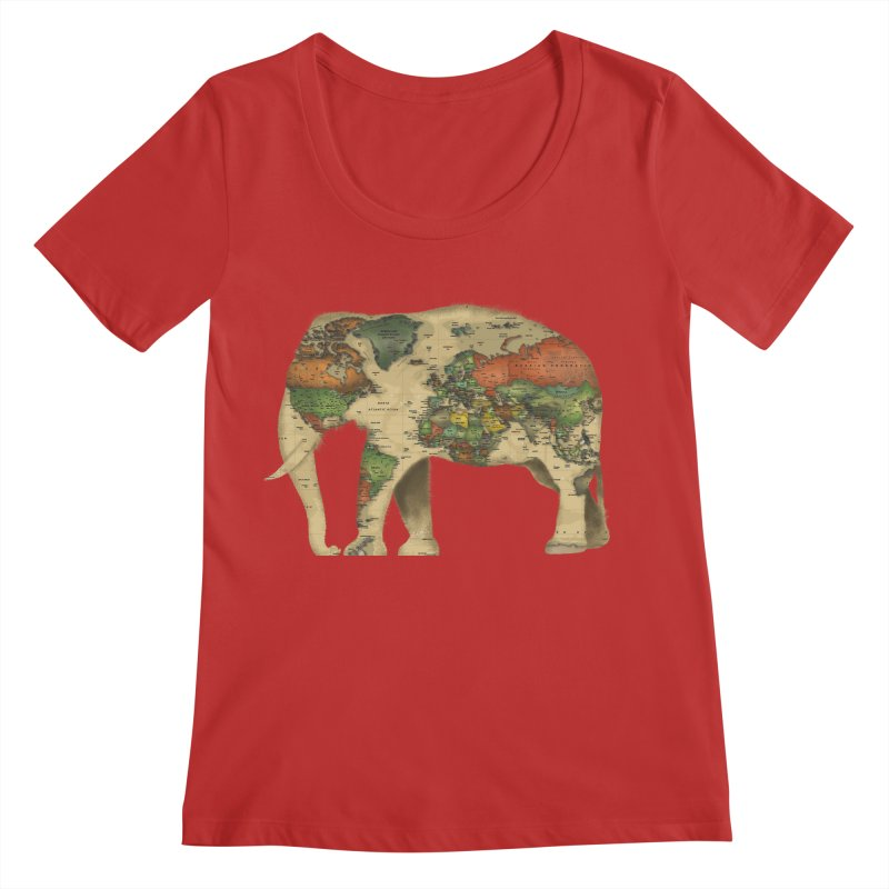 save the elephants Women's Regular Scoop Neck by Fathi