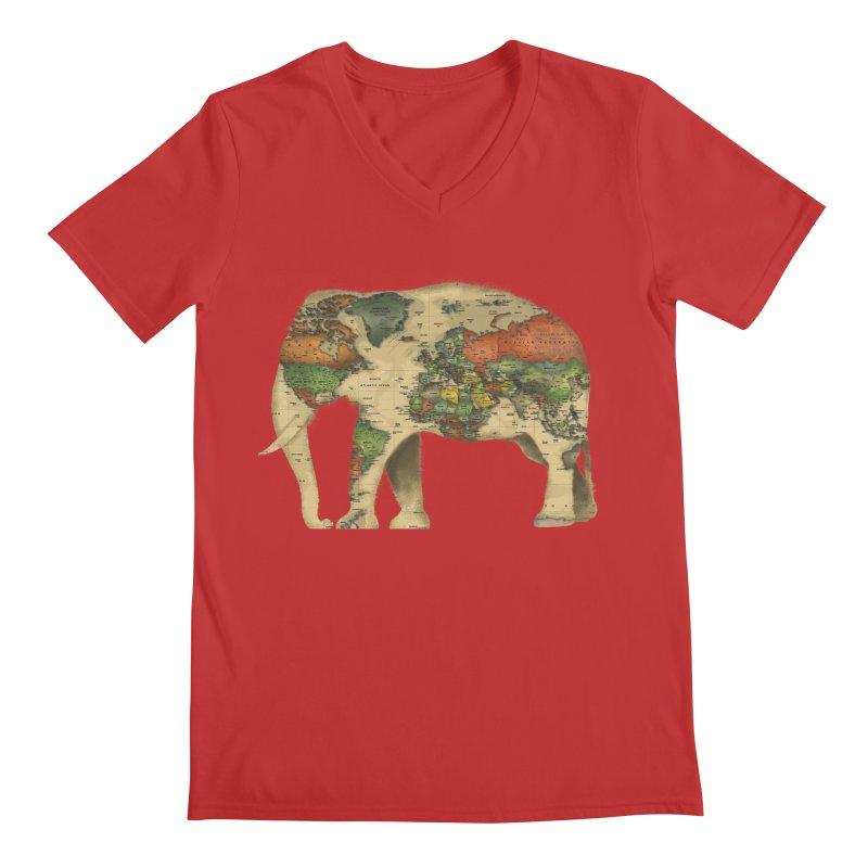 save the elephants Men's Regular V-Neck by Fathi