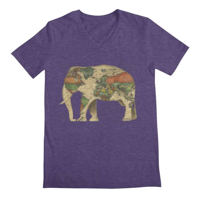 save the elephants Men's Regular V-Neck by Fathi