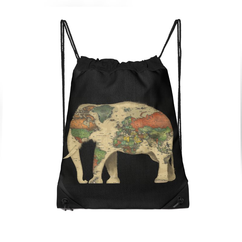 save the elephants Accessories Drawstring Bag Bag by Fathi