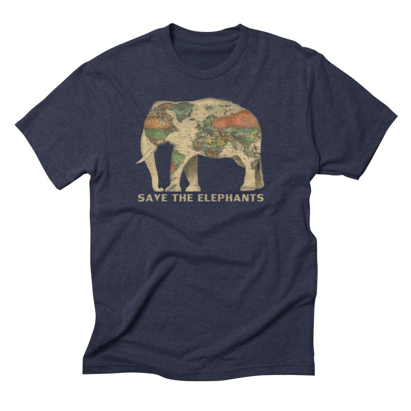 save the elephants Men's Triblend T-Shirt by Fathi