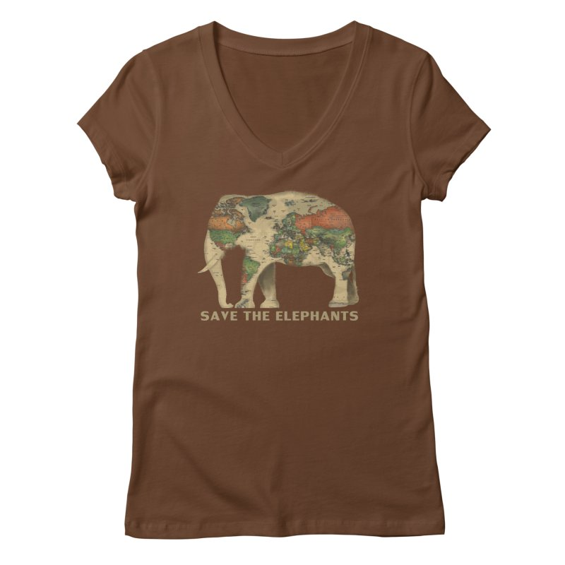 save the elephants Women's Regular V-Neck by Fathi