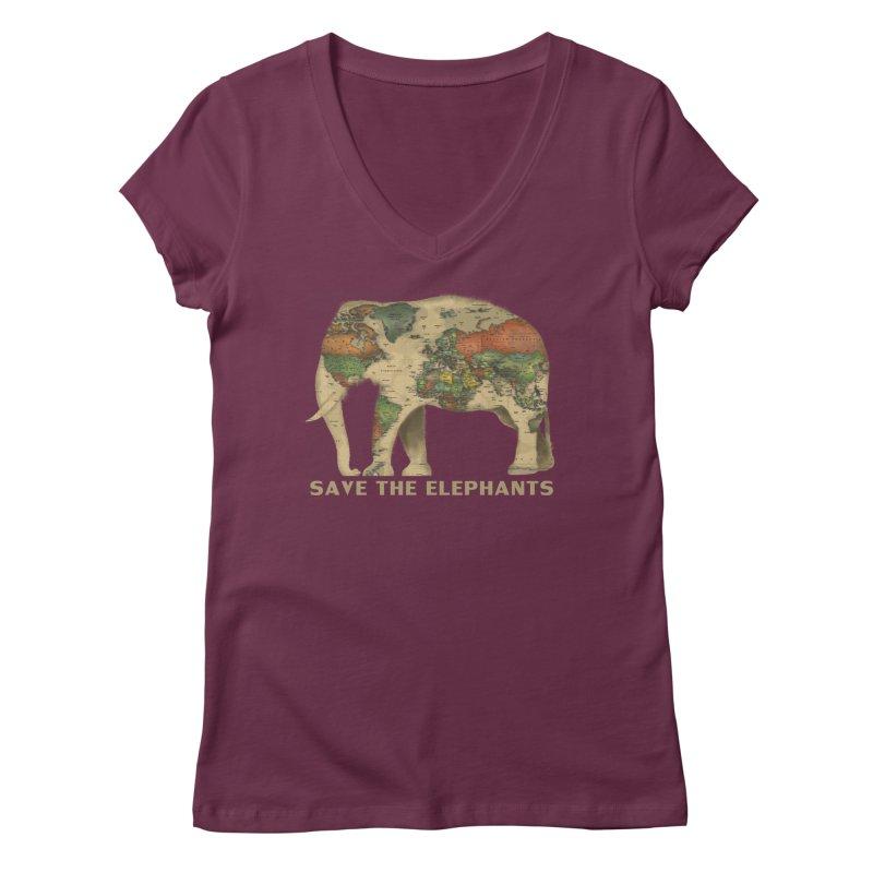save the elephants Women's Regular V-Neck by Fathi