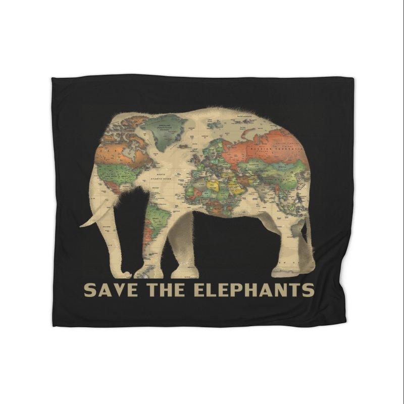 save the elephants Home Fleece Blanket Blanket by Fathi