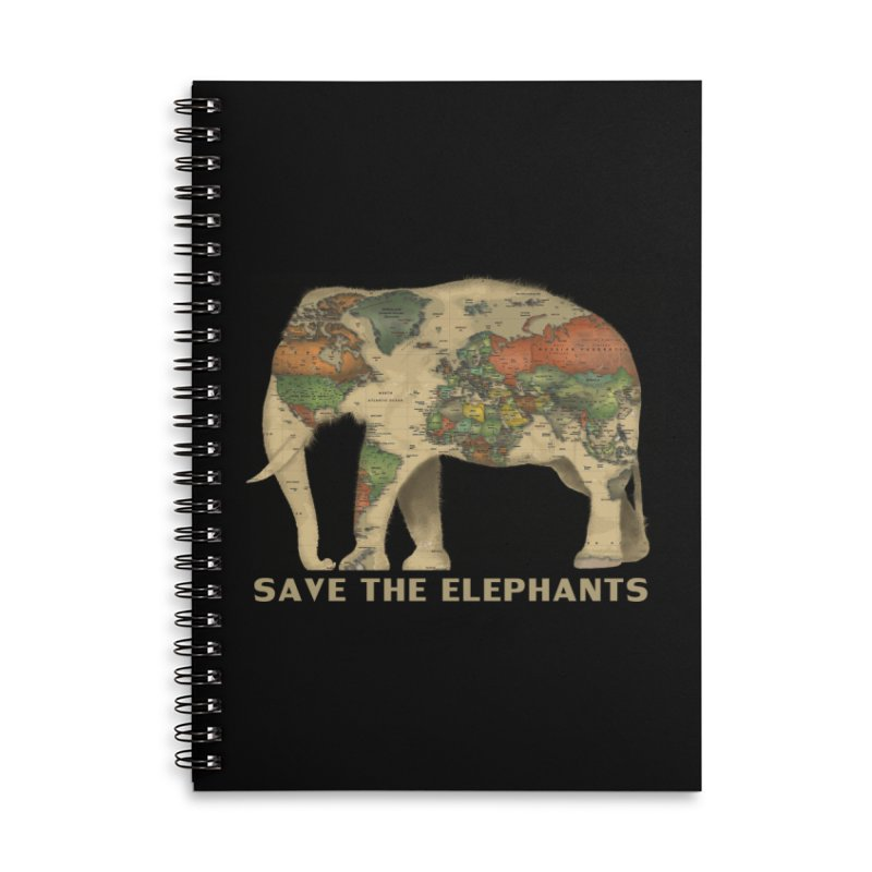 save the elephants Accessories Lined Spiral Notebook by Fathi