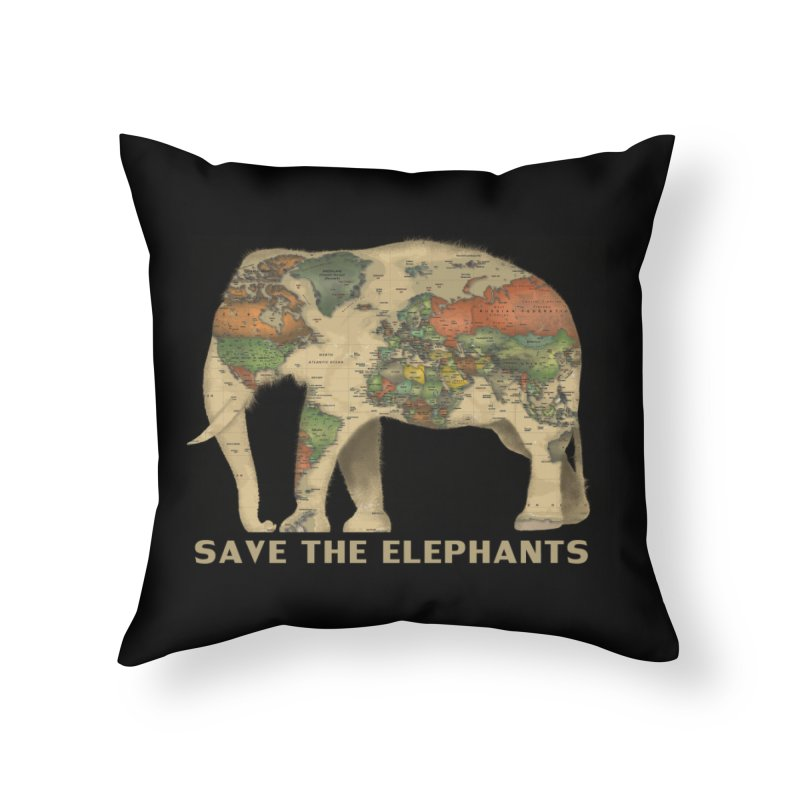 save the elephants Home Throw Pillow by Fathi