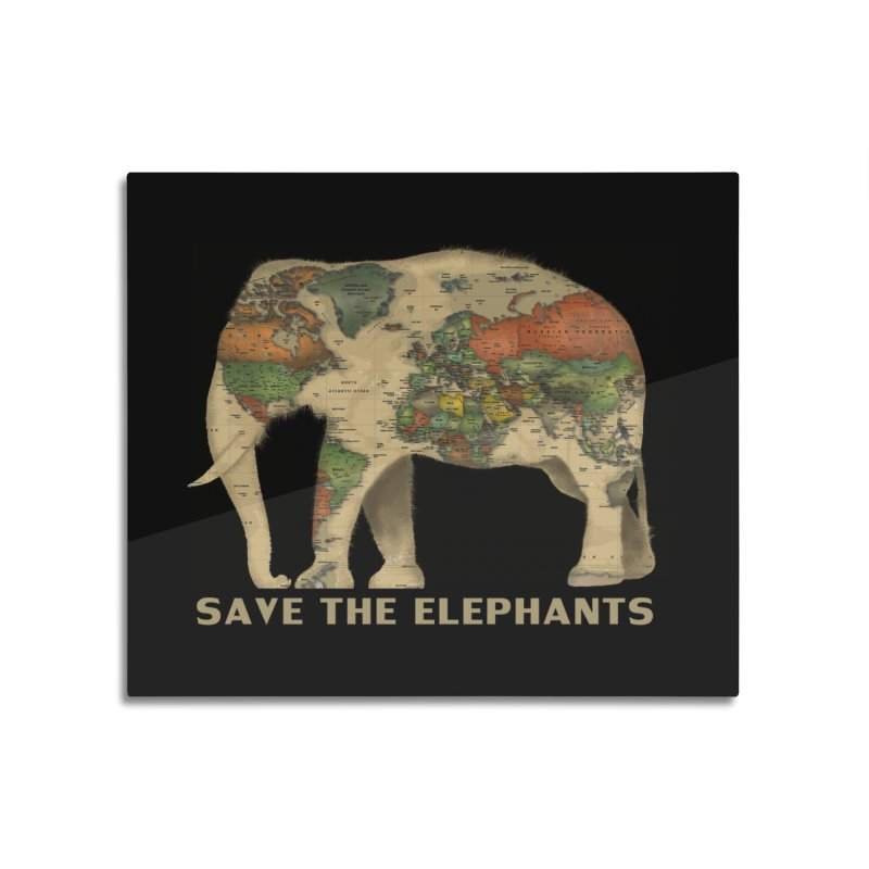 save the elephants Home Mounted Aluminum Print by Fathi