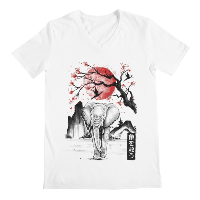 Elephant Japanese Men's V-Neck by Fathi