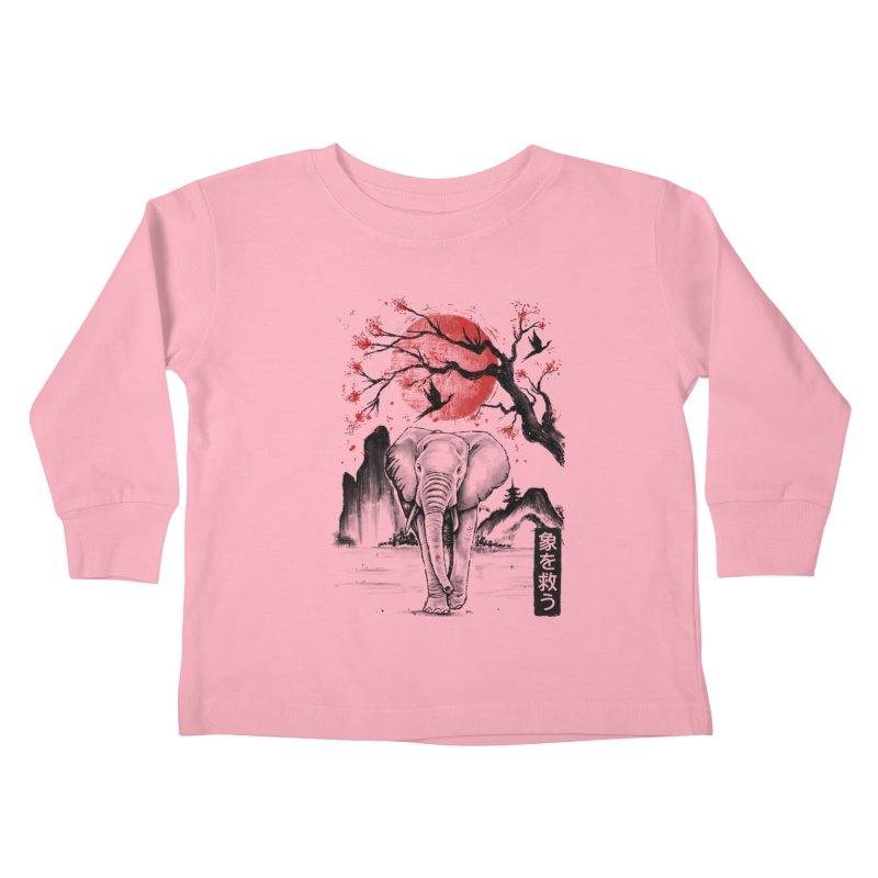 Elephant Japanese Kids Toddler Longsleeve T-Shirt by Fathi