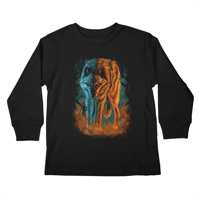 Fire And Ice Kids Longsleeve T-Shirt by Fathi