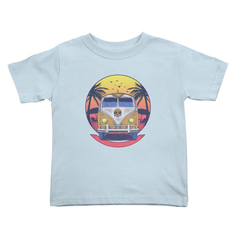 Beach Van Kids Toddler T-Shirt by Fathi