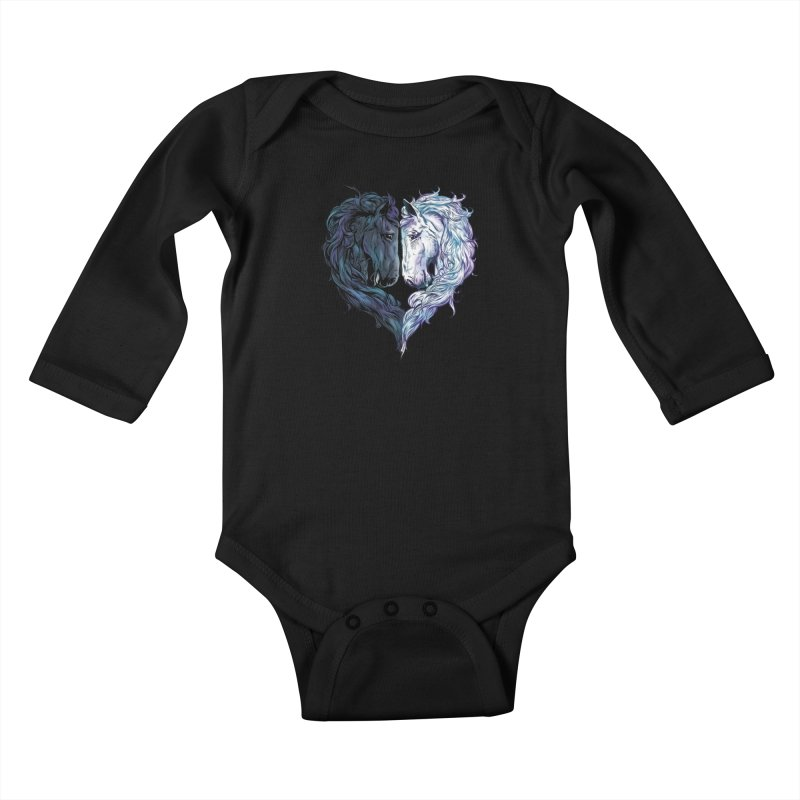Love Horses Kids Baby Longsleeve Bodysuit by Fathi