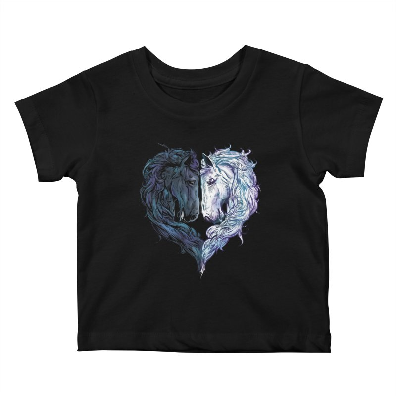 Love Horses Kids Baby T-Shirt by Fathi