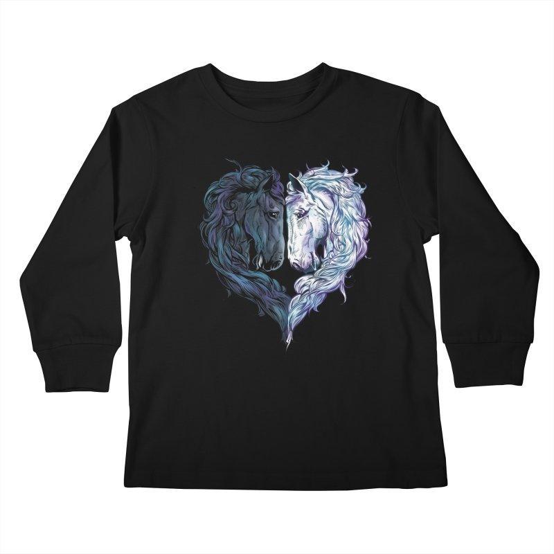 Love Horses Kids Longsleeve T-Shirt by Fathi