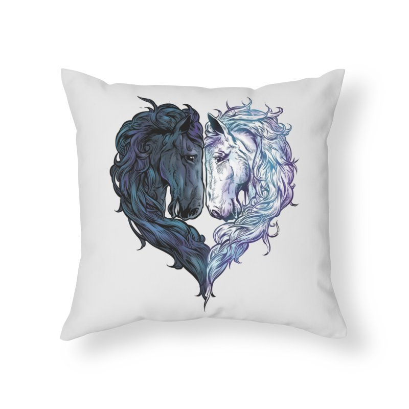Love Horses Home Throw Pillow by Fathi