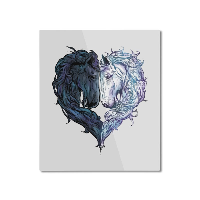 Love Horses Home Mounted Aluminum Print by Fathi