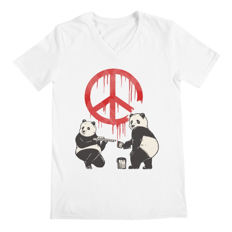 Pandalism Peace Sign Men's V-Neck by Fathi
