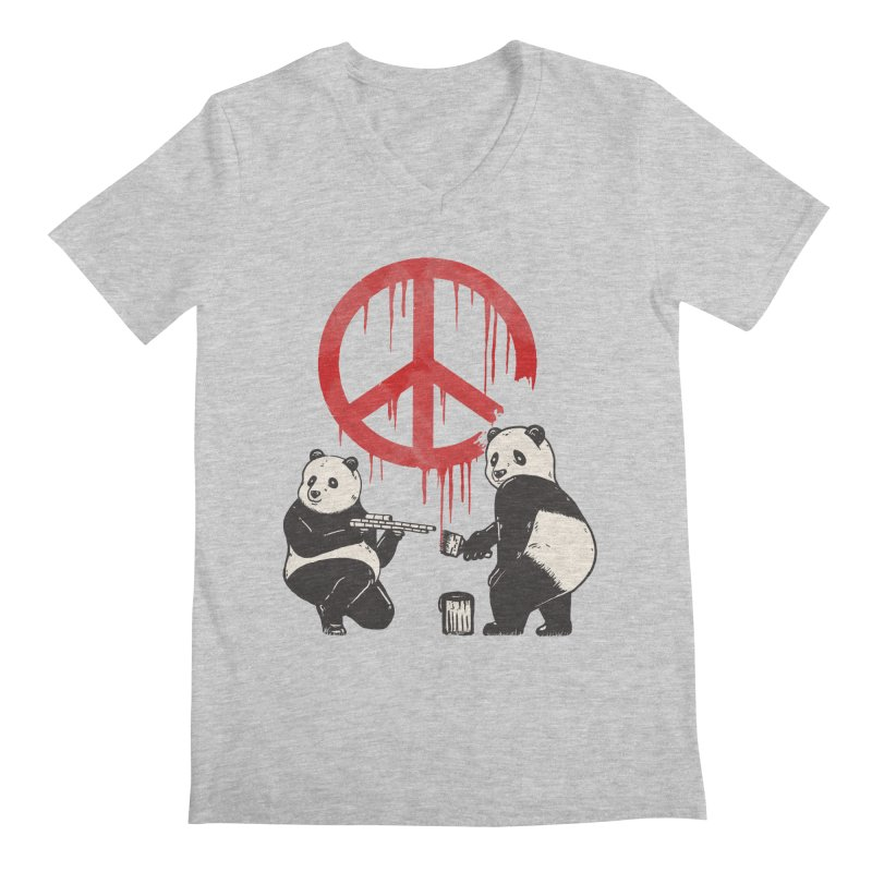 Pandalism Peace Sign Men's Regular V-Neck by Fathi