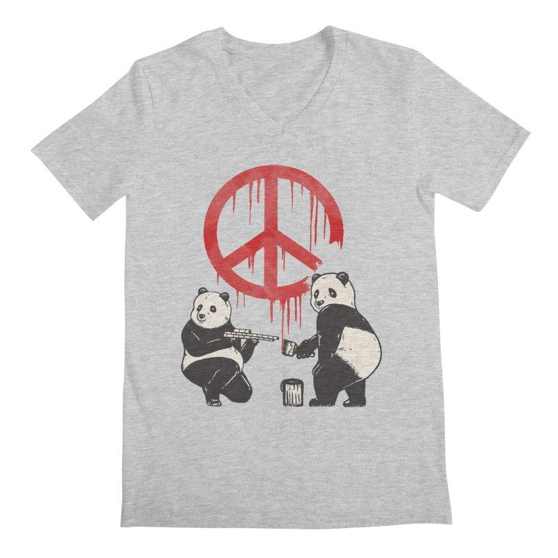 Pandalism Peace Sign Men's V-Neck by Fathi