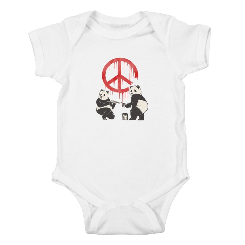 Pandalism Peace Sign Kids Baby Bodysuit by Fathi