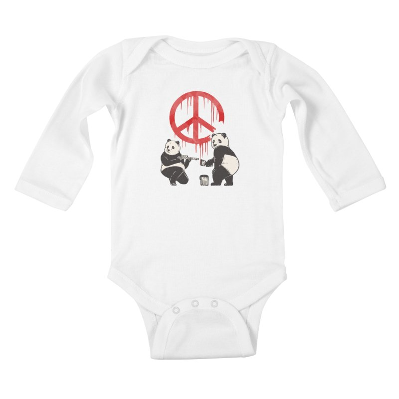 Pandalism Peace Sign Kids Baby Longsleeve Bodysuit by Fathi