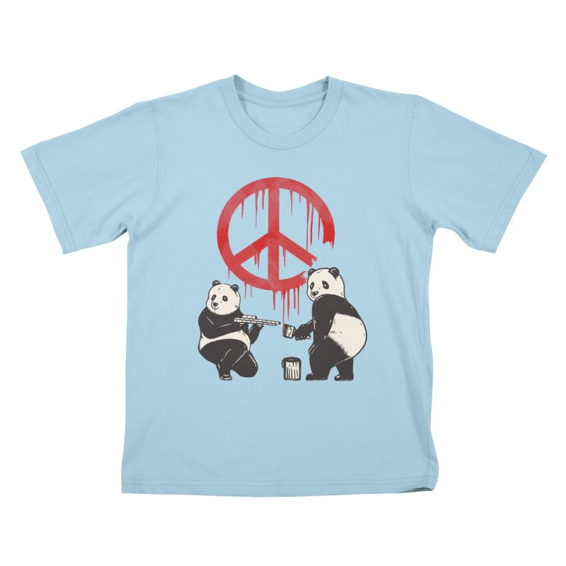 Pandalism Peace Sign Kids T-Shirt by Fathi