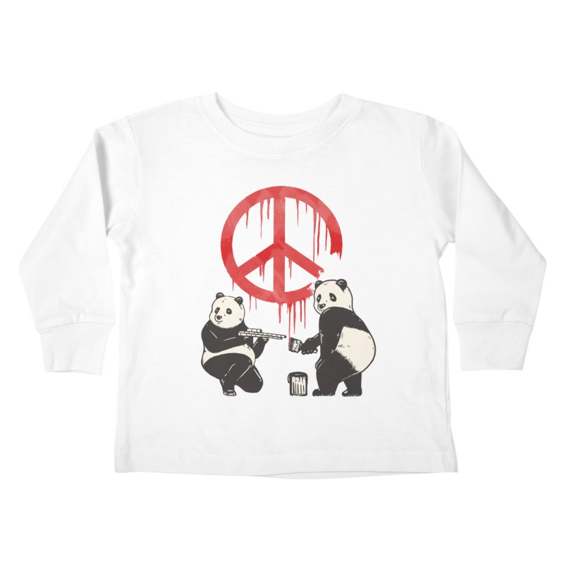 Pandalism Peace Sign Kids Toddler Longsleeve T-Shirt by Fathi