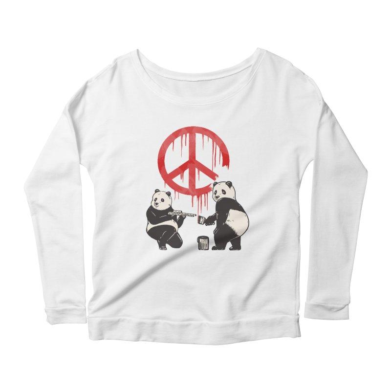Pandalism Peace Sign Women's Scoop Neck Longsleeve T-Shirt by Fathi