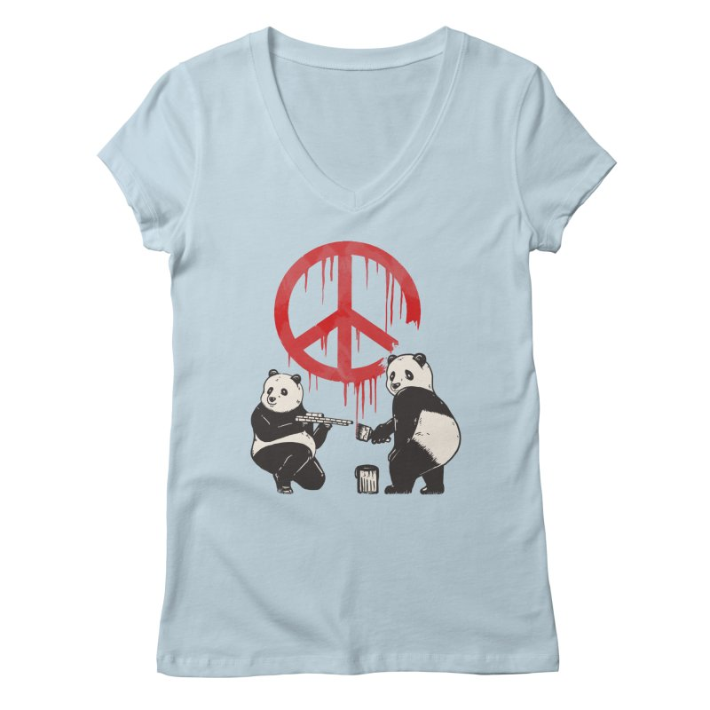 Pandalism Peace Sign Women's V-Neck by Fathi
