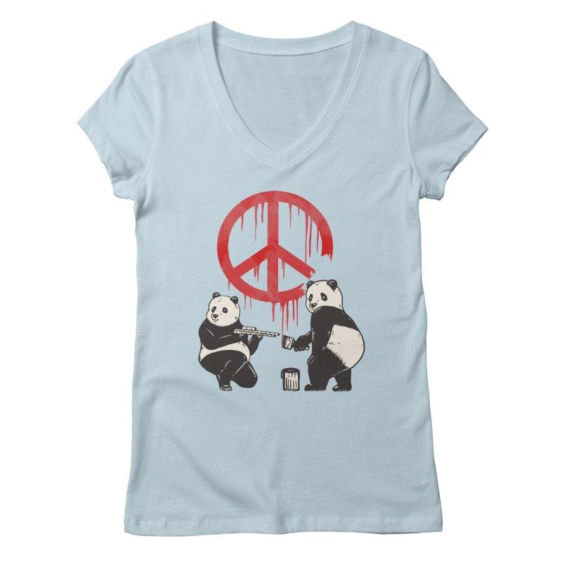 Pandalism Peace Sign Women's Regular V-Neck by Fathi