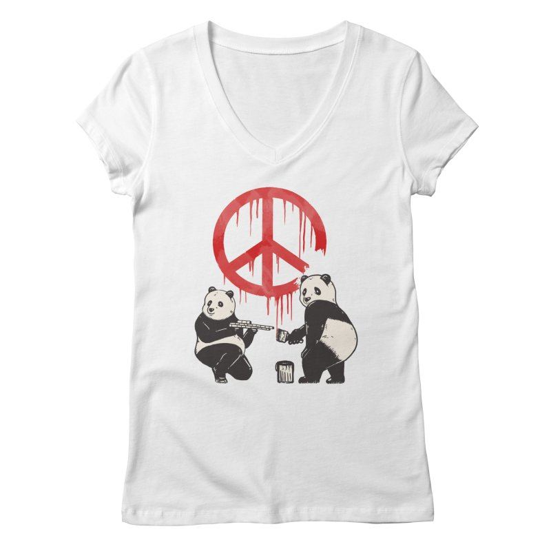 Pandalism Peace Sign Women's Regular V-Neck by Fathi