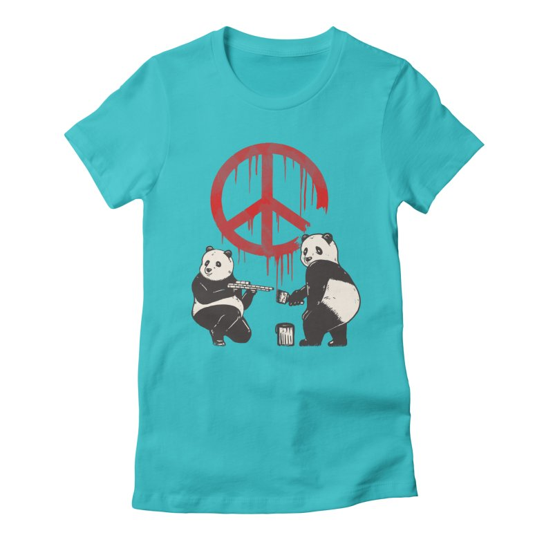 Pandalism Peace Sign Women's Fitted T-Shirt by Fathi
