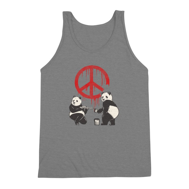 Pandalism Peace Sign Men's Triblend Tank by Fathi