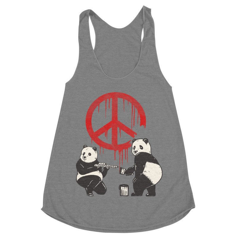 Pandalism Peace Sign Women's Racerback Triblend Tank by Fathi