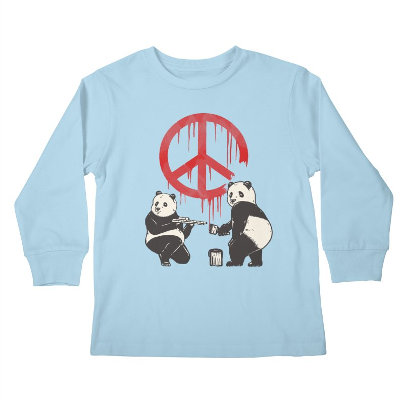 Pandalism Peace Sign Kids Longsleeve T-Shirt by Fathi