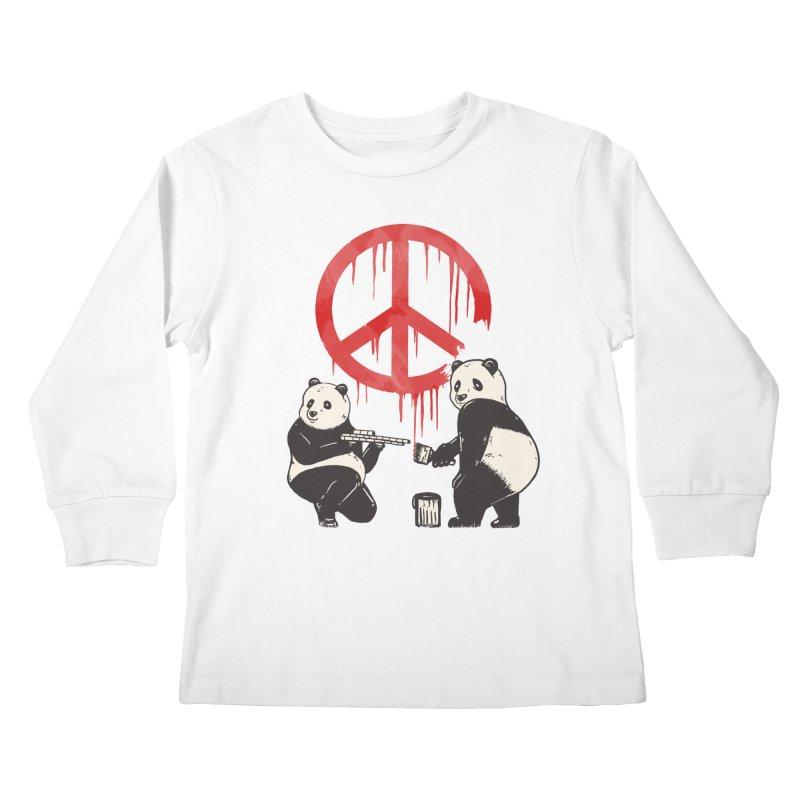 Pandalism Peace Sign Kids Longsleeve T-Shirt by Fathi