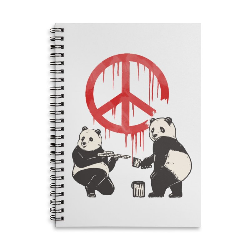 Pandalism Peace Sign Accessories Lined Spiral Notebook by Fathi