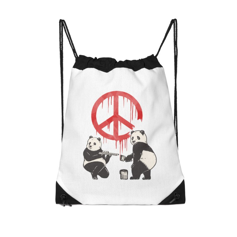 Pandalism Peace Sign Accessories Drawstring Bag Bag by Fathi