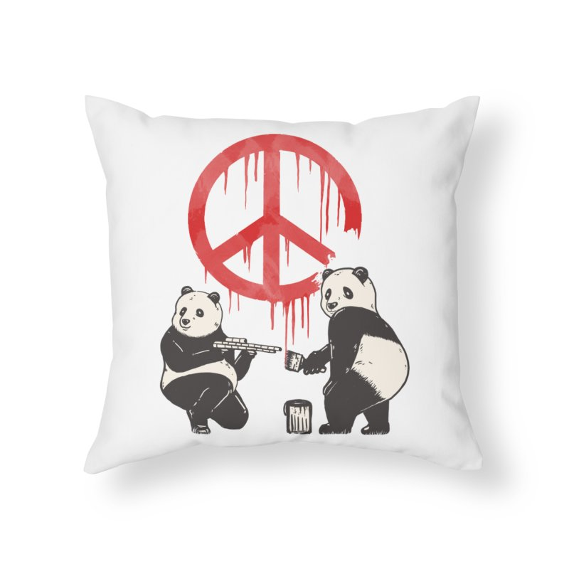 Pandalism Peace Sign Home Throw Pillow by Fathi