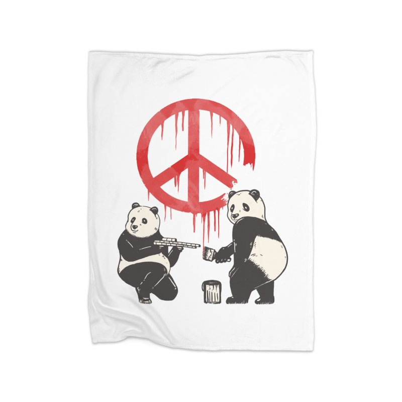Pandalism Peace Sign Home Fleece Blanket Blanket by Fathi